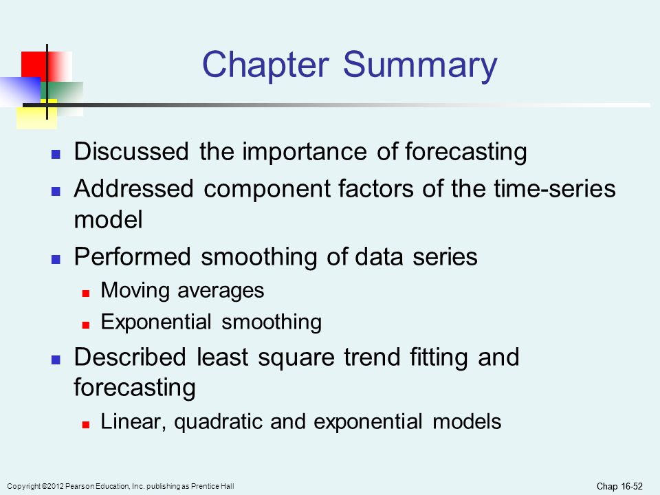 Chapter Summary Discussed the importance of forecasting