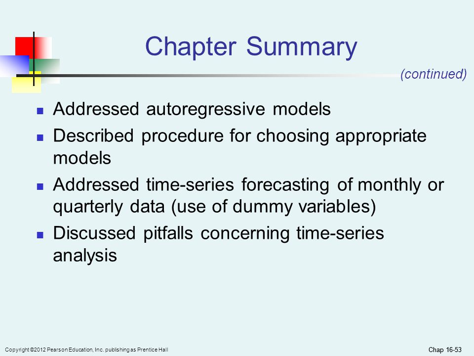 Chapter Summary Addressed autoregressive models