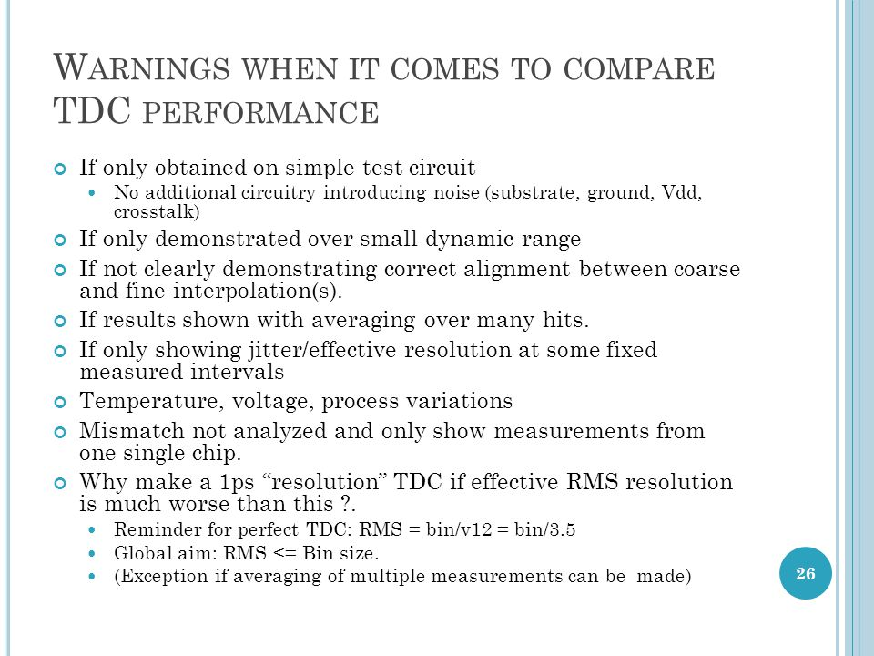 Warnings when it comes to compare TDC performance