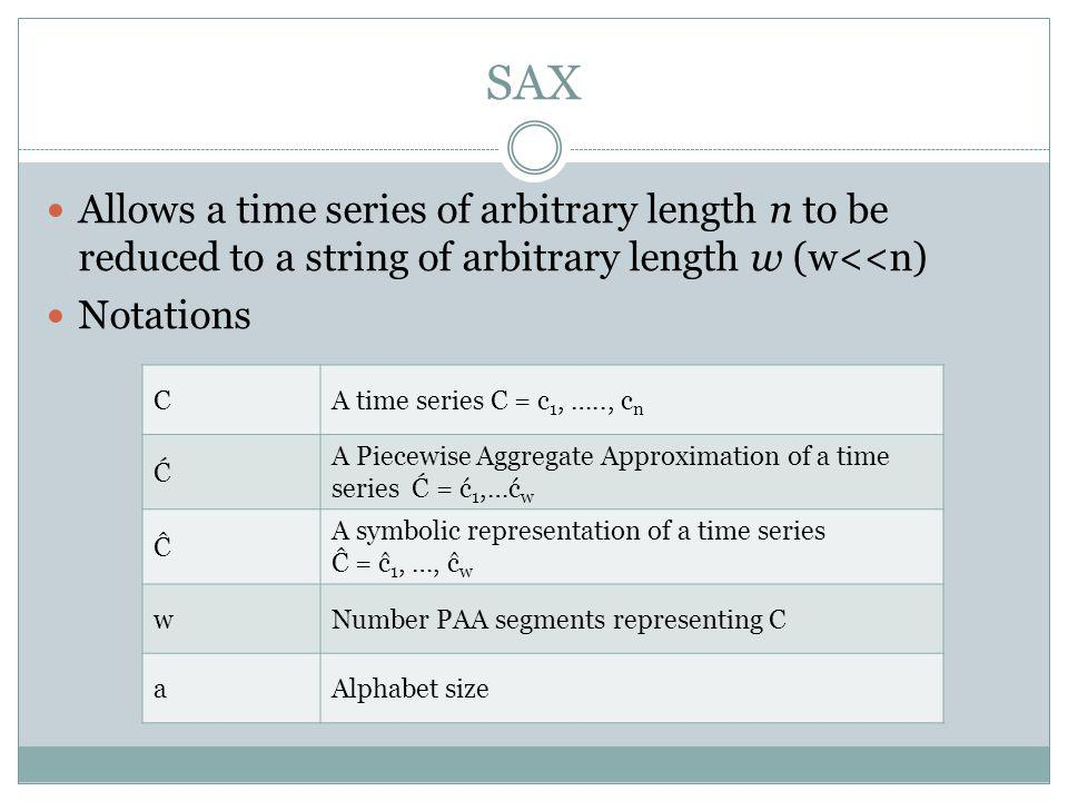 SAX Allows a time series of arbitrary length n to be reduced to a string of arbitrary length w (w<<n)