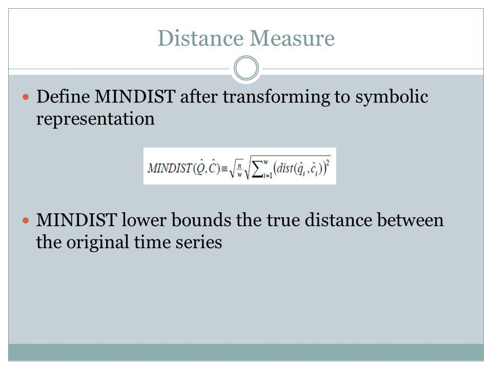 Distance Measure Define MINDIST after transforming to symbolic representation.
