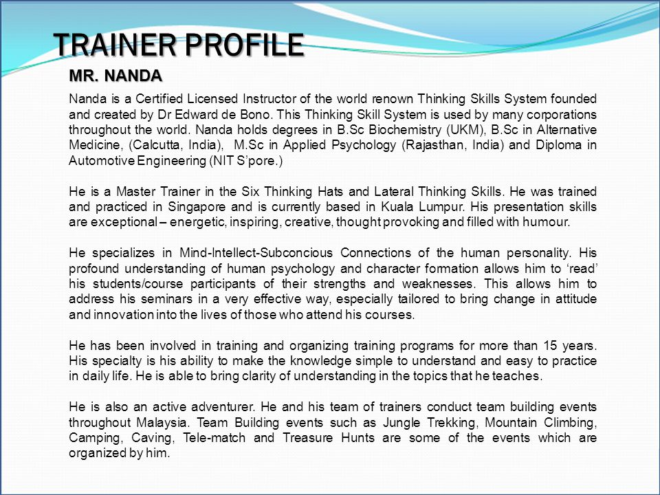 TRAINER PROFILE MR. NANDA
