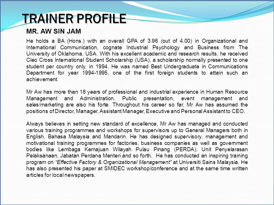 TRAINER PROFILE MR. AW SIN JAM