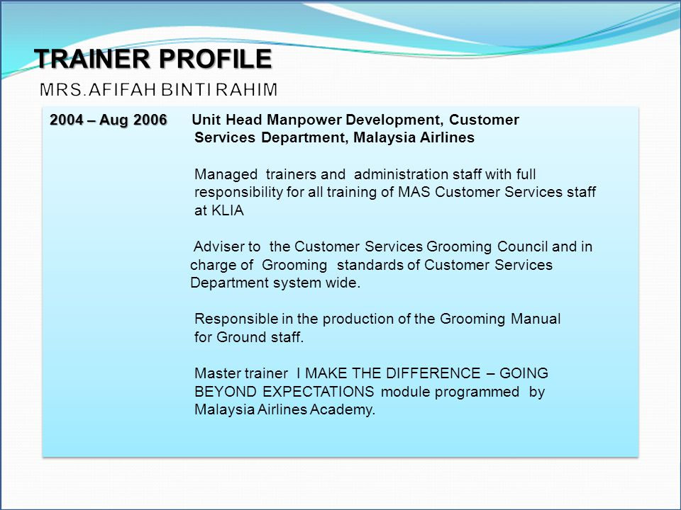 TRAINER PROFILE MRS.AFIFAH BINTI RAHIM