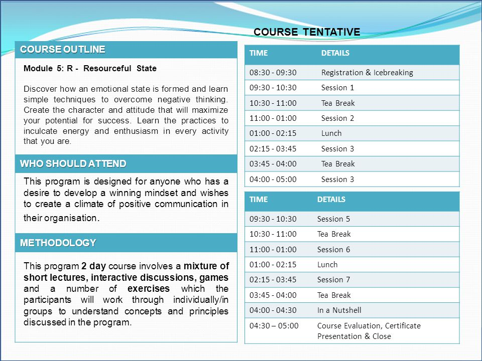 COURSE TENTATIVE COURSE OUTLINE WHO SHOULD ATTEND