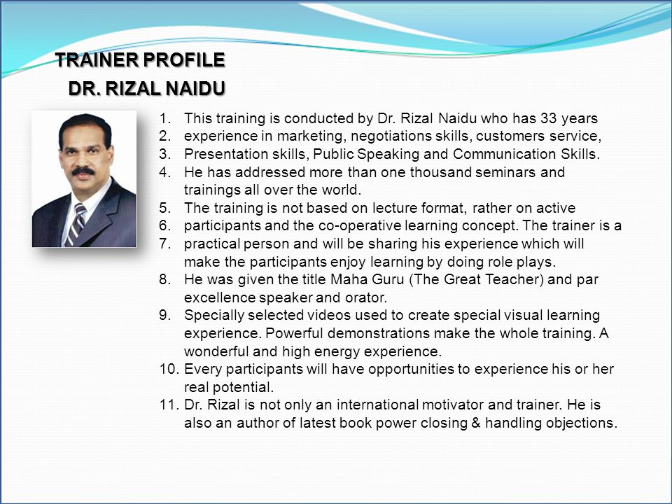 Excel Model Builder Modeling Tools TRAINER PROFILE DR. RIZAL NAIDU
