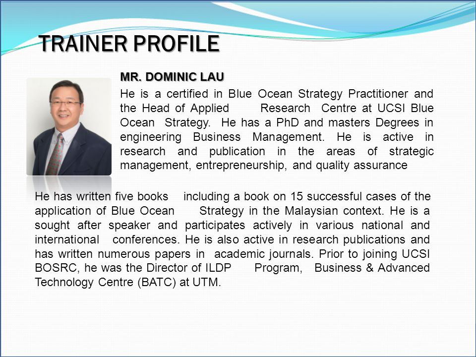 TRAINER PROFILE Excel Model Builder Modeling Tools MR. DOMINIC LAU