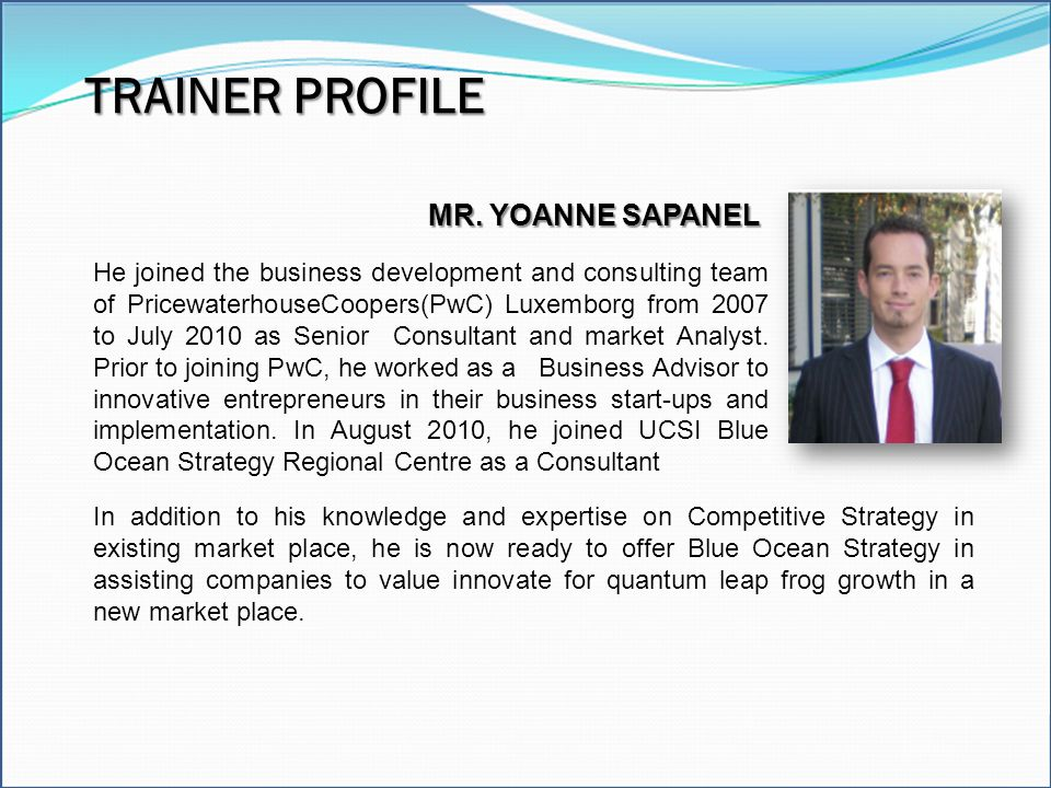 TRAINER PROFILE Excel Model Builder Modeling Tools MR. YOANNE SAPANEL