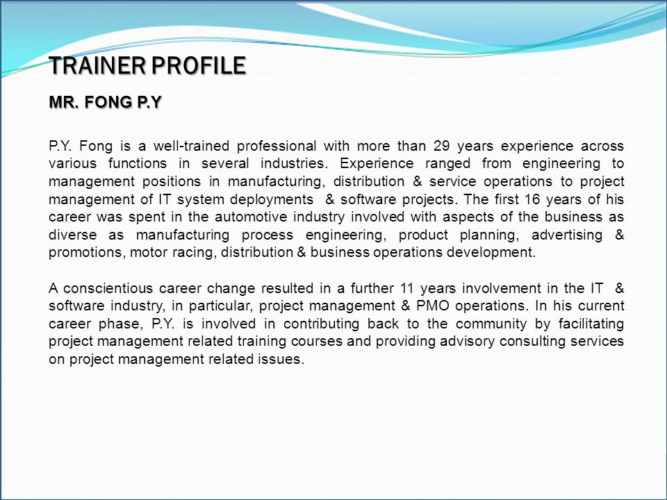 Excel Model Builder TRAINER PROFILE Modeling Tools MR. FONG P.Y