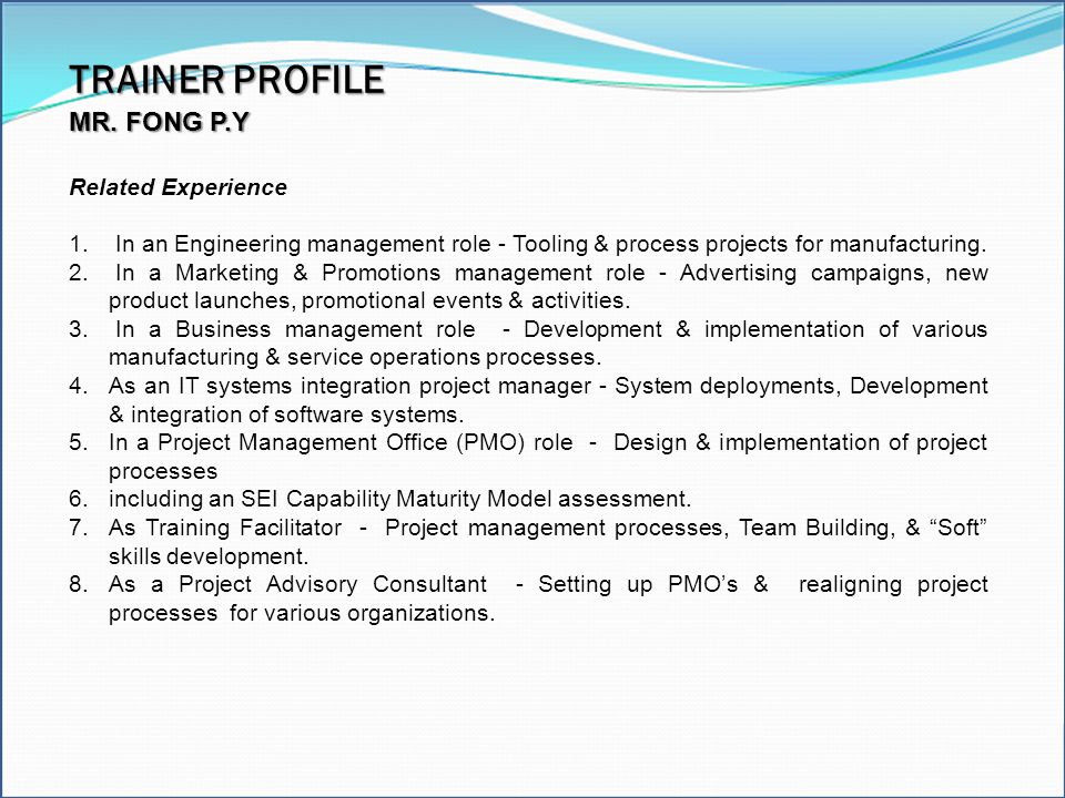 TRAINER PROFILE Excel Model Builder Modeling Tools MR. FONG P.Y