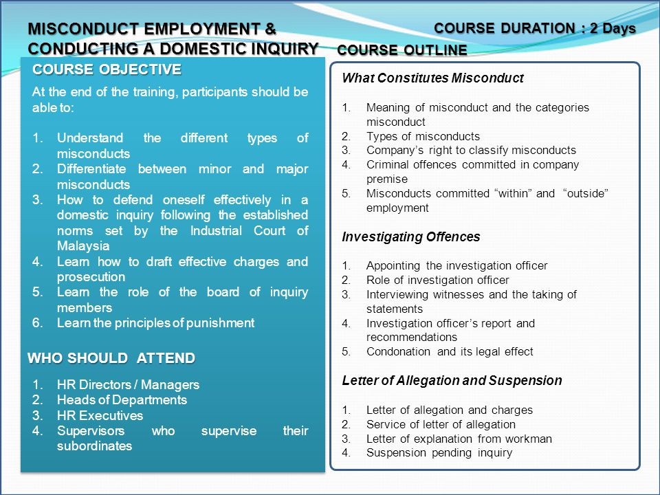 MISCONDUCT EMPLOYMENT & CONDUCTING A DOMESTIC INQUIRY