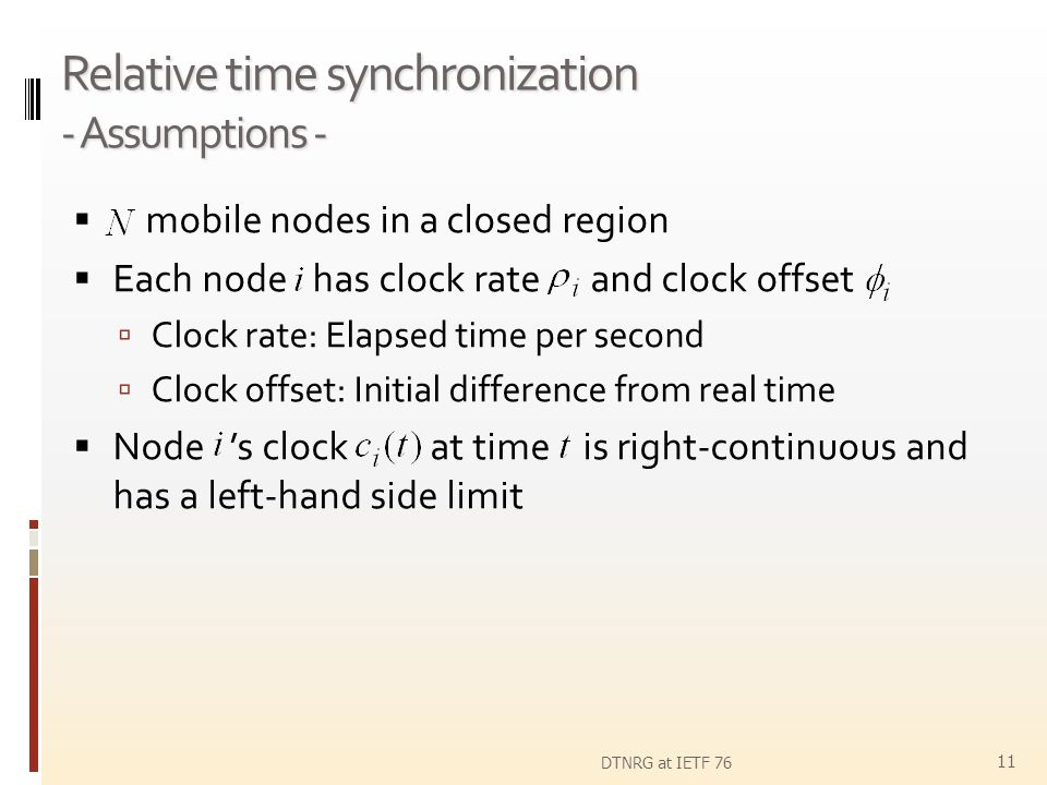 Relative time synchronization - Assumptions -