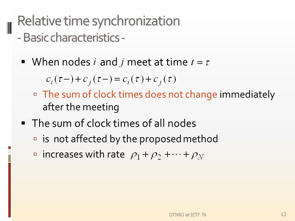 Relative time synchronization - Basic characteristics -