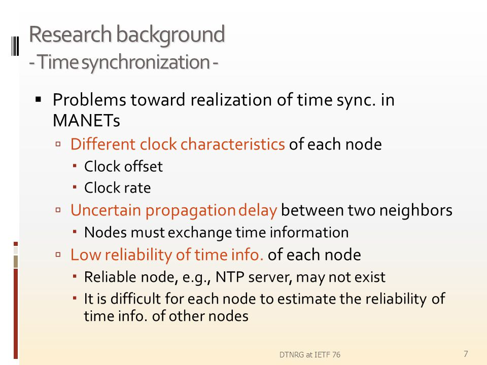 Research background - Time synchronization -