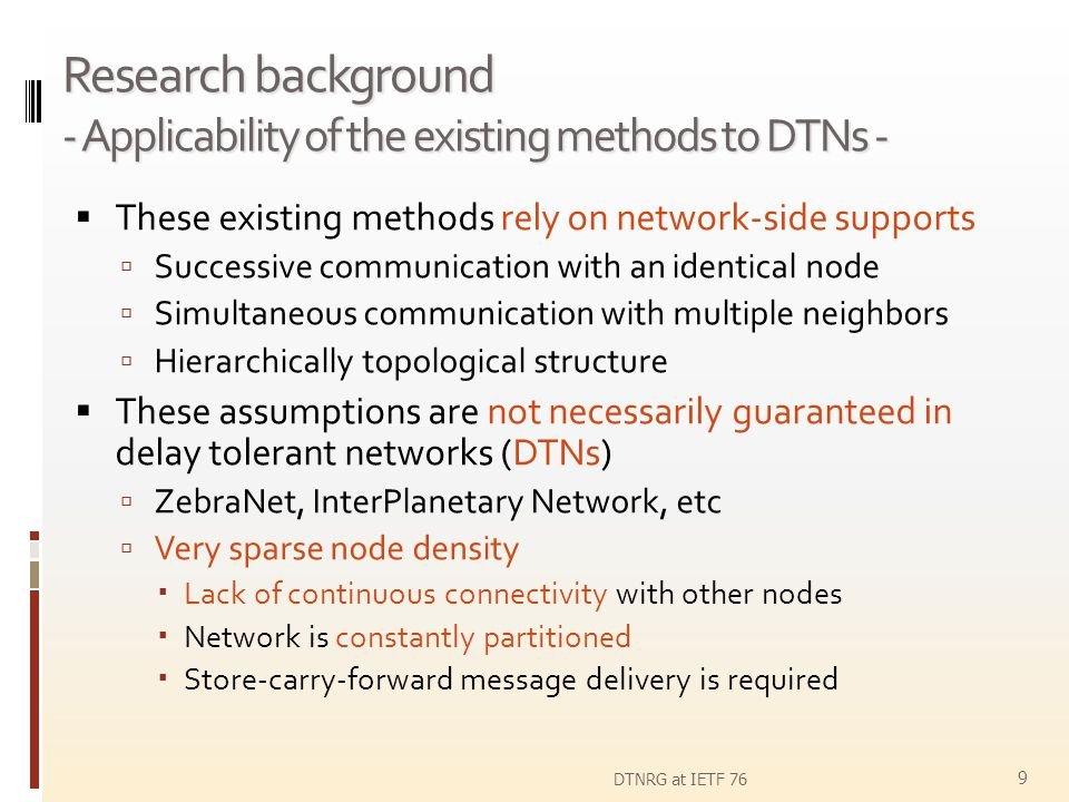 Research background - Applicability of the existing methods to DTNs -