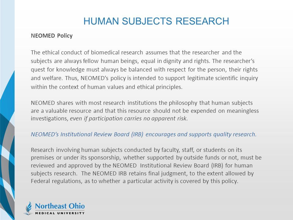 HUMAN SUBJECTS RESEARCH