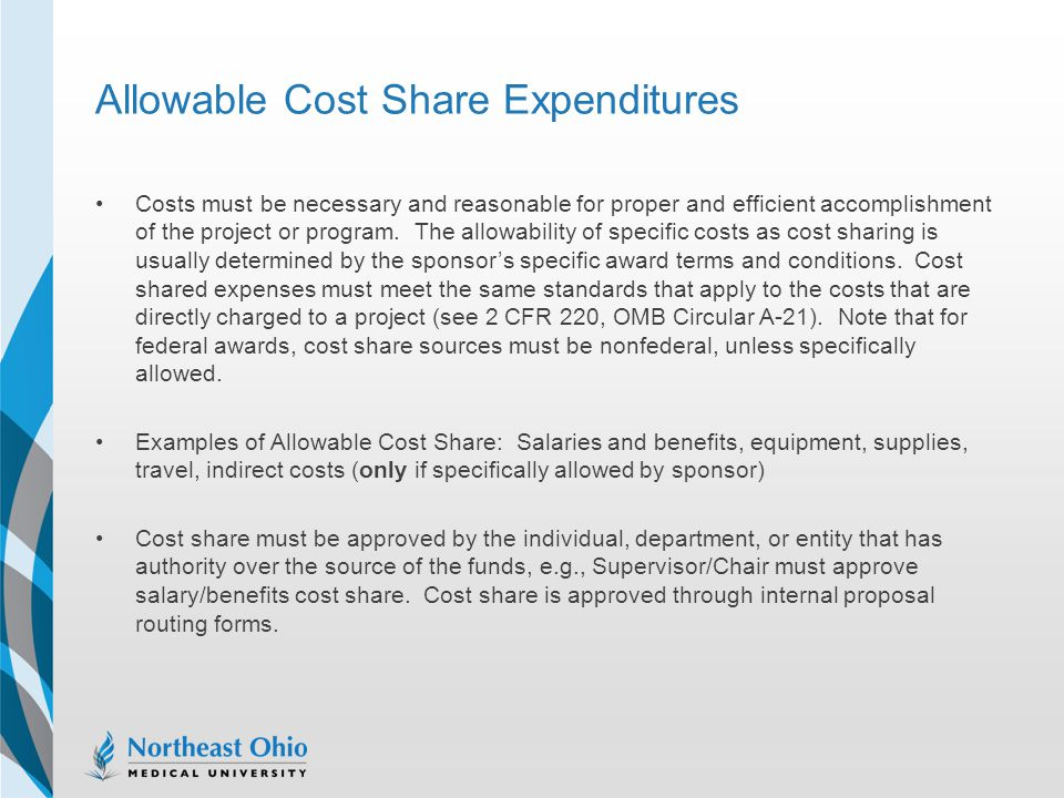 Allowable Cost Share Expenditures
