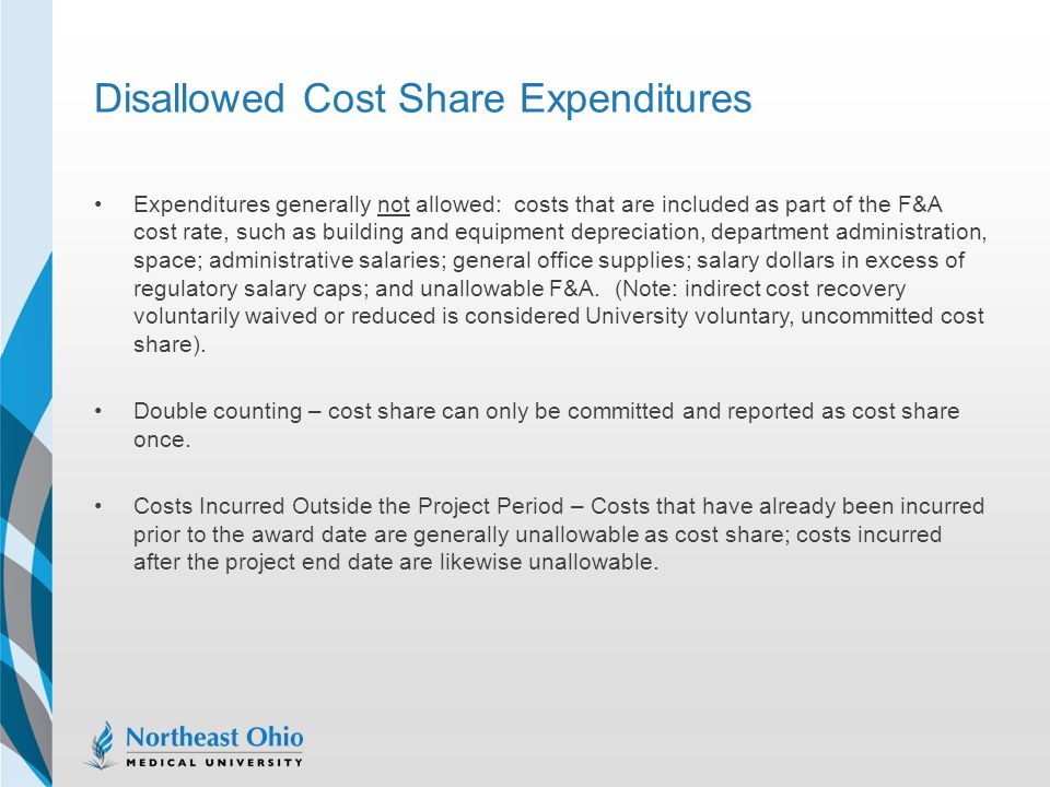 Disallowed Cost Share Expenditures