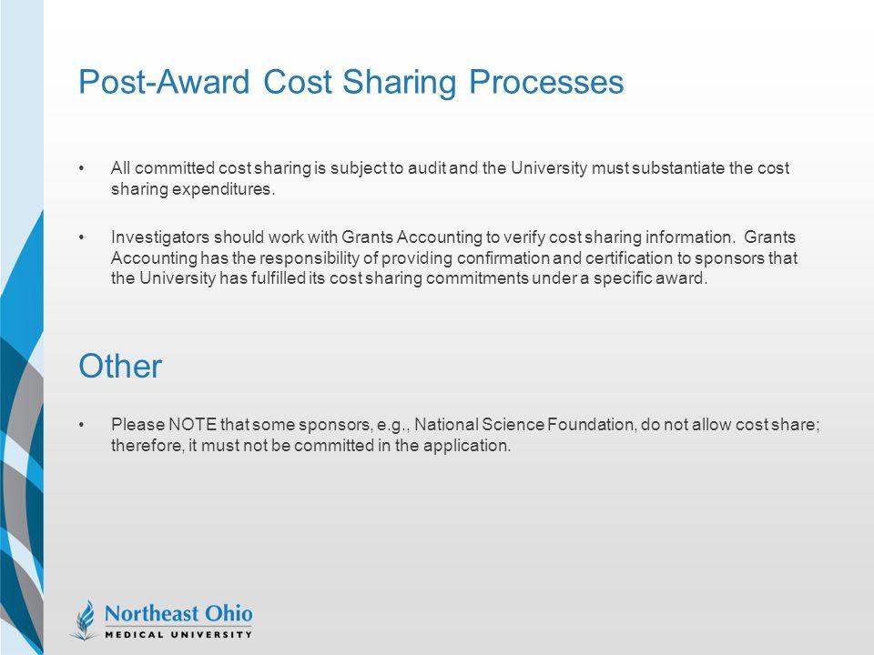 Post-Award Cost Sharing Processes