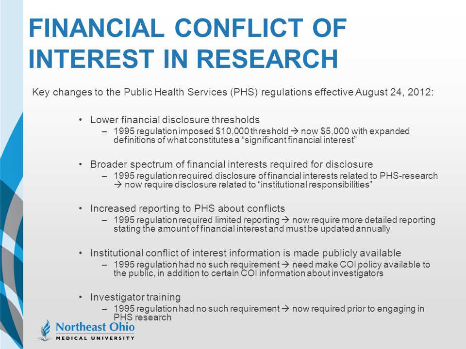 Financial Conflict of Interest in Research