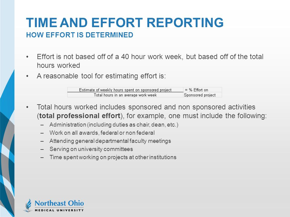 Time and effort reporting How effort is determined