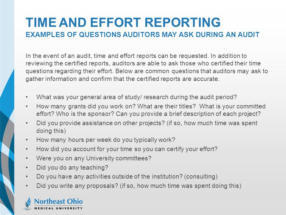 Time and effort reporting examples of questions auditors may ask during an audit