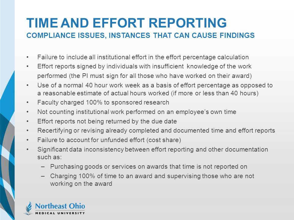 Time and effort reporting Compliance issues, instances that can cause findings