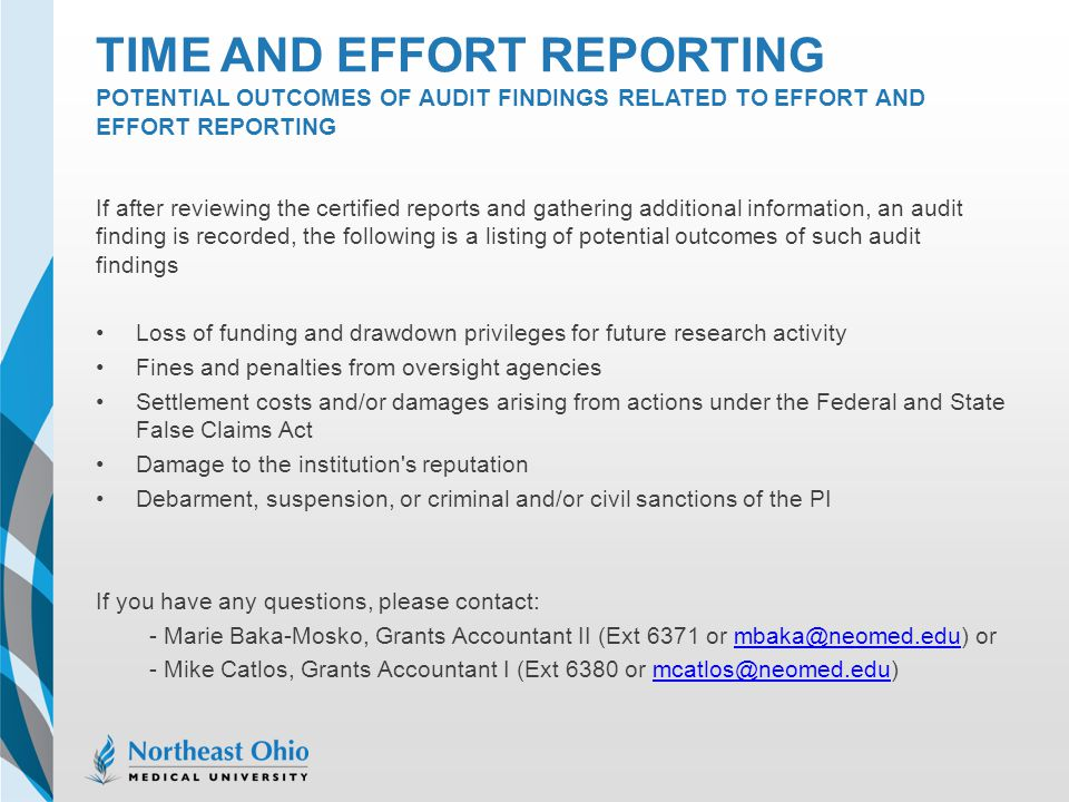 Time and effort reporting potential outcomes of audit findings related to effort and effort reporting
