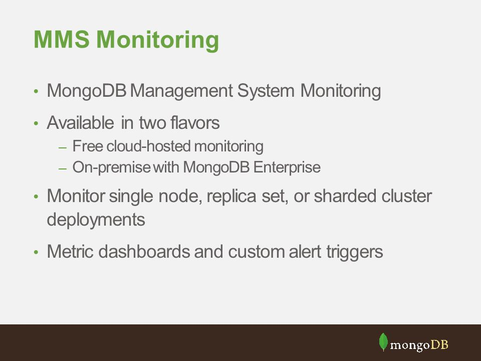 MMS Monitoring MongoDB Management System Monitoring