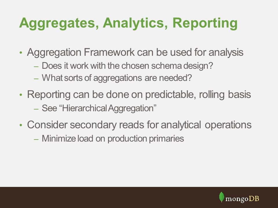 Aggregates, Analytics, Reporting