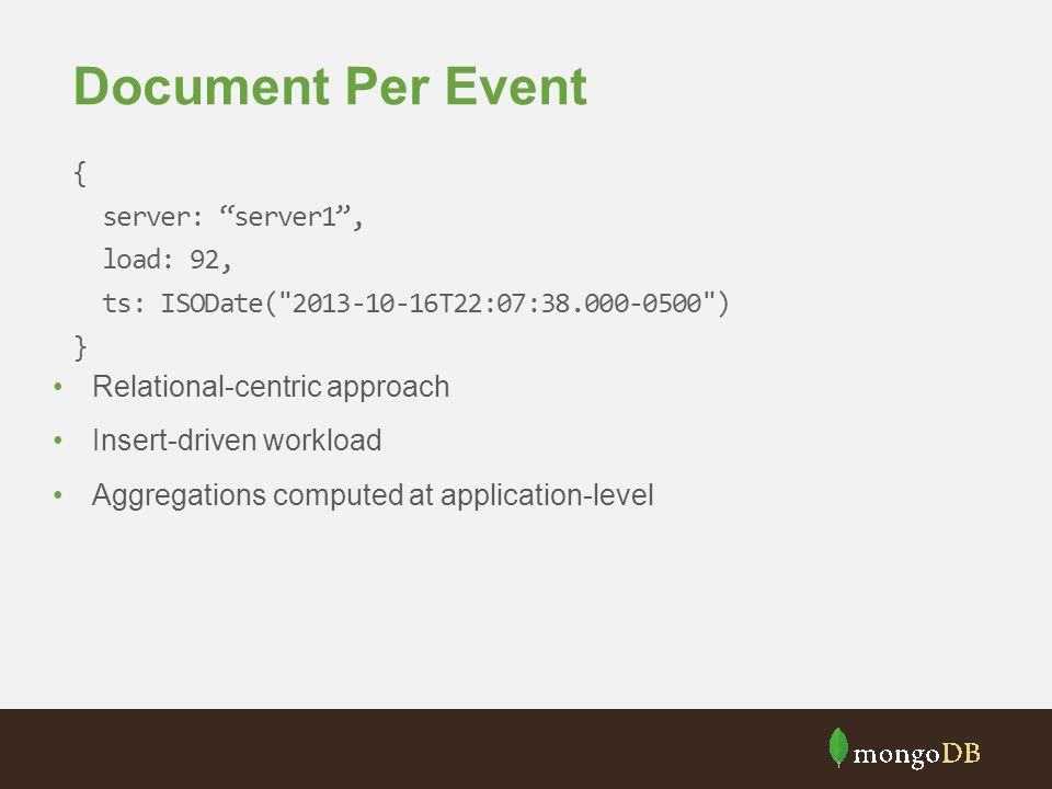 Document Per Event { server: server1 , load: 92,