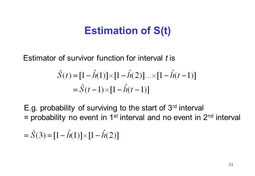 Estimation of S(t) Estimator of survivor function for interval t is