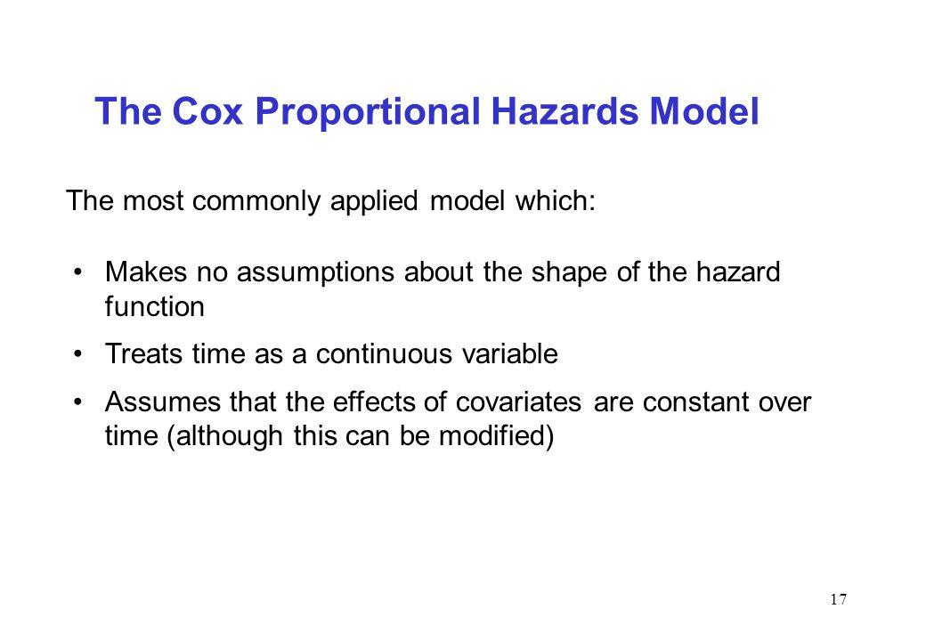 The Cox Proportional Hazards Model