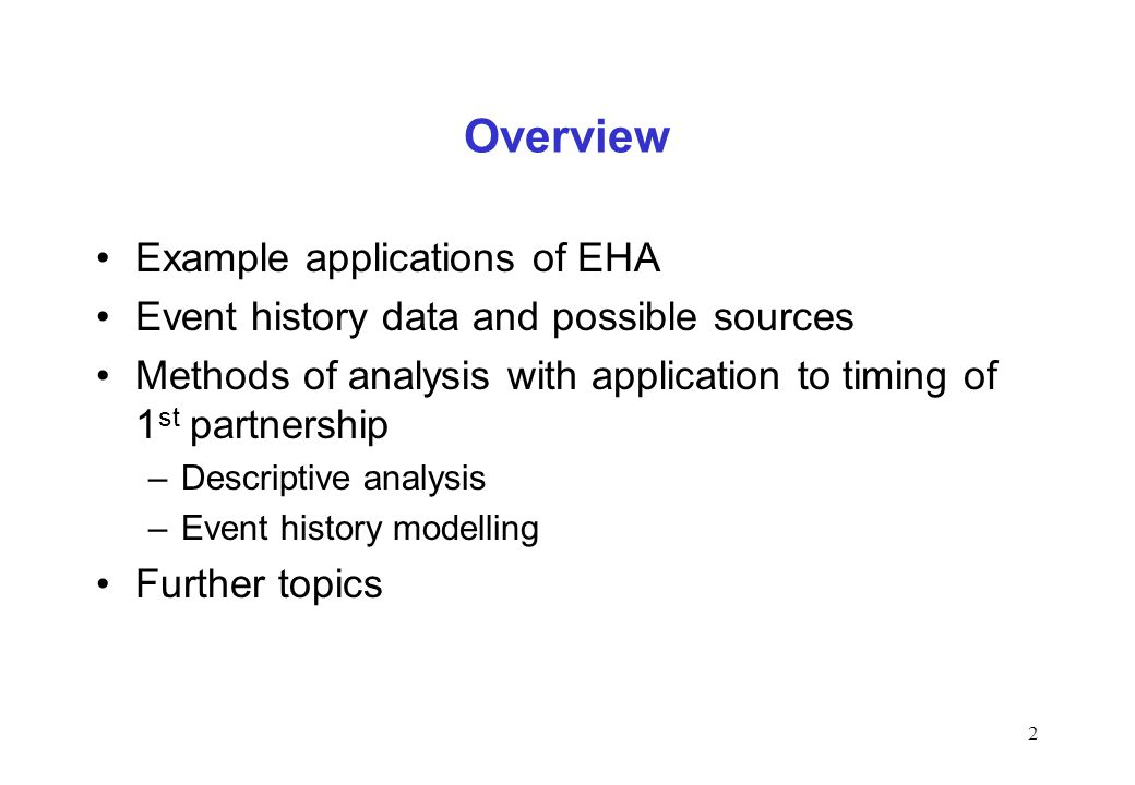 Overview Example applications of EHA