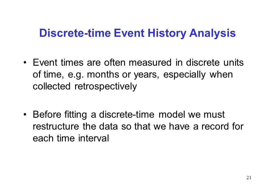 Discrete-time Event History Analysis