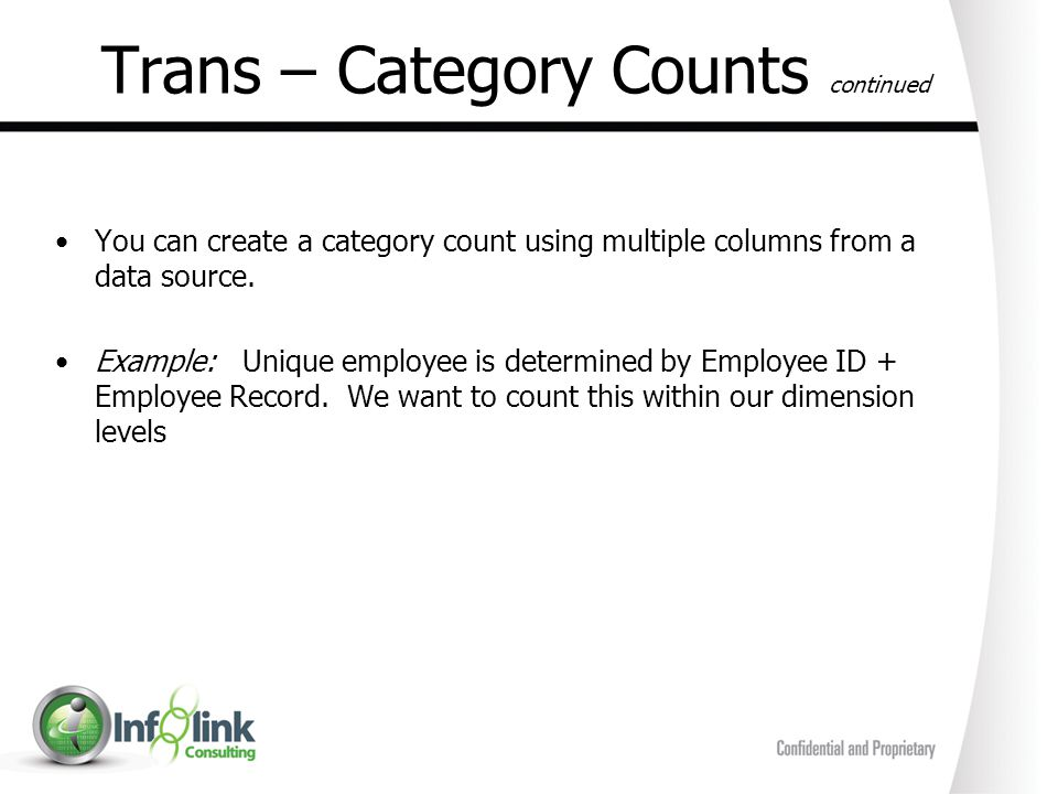 Trans – Category Counts continued