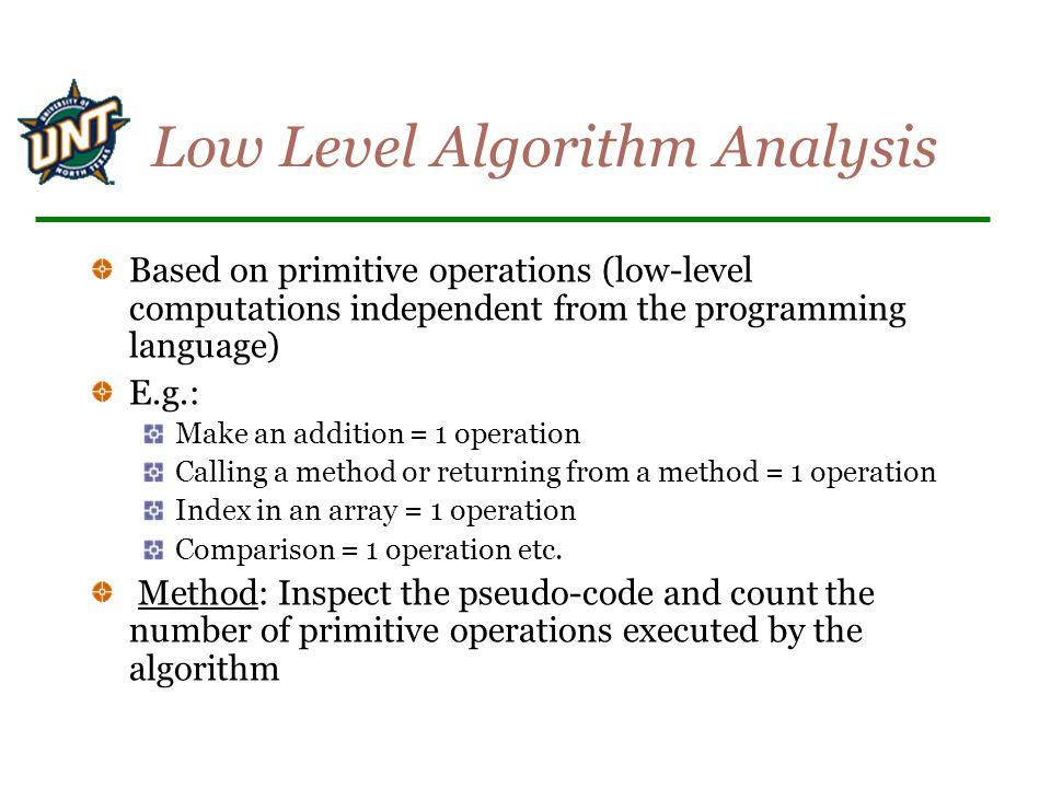 Low Level Algorithm Analysis