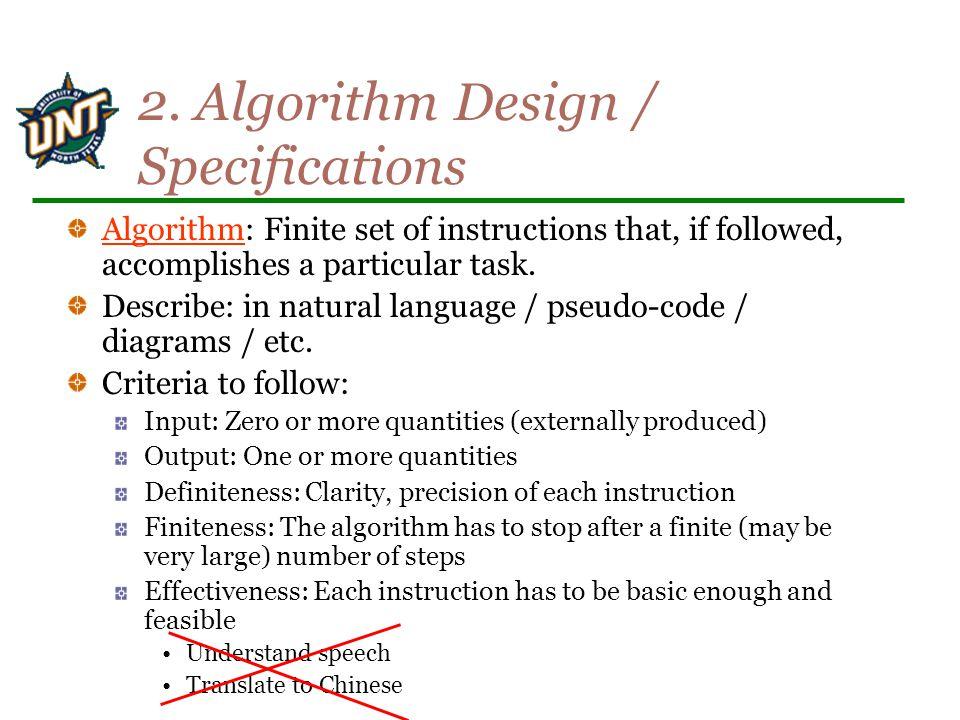 2. Algorithm Design / Specifications