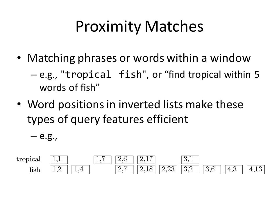 Proximity Matches Matching phrases or words within a window