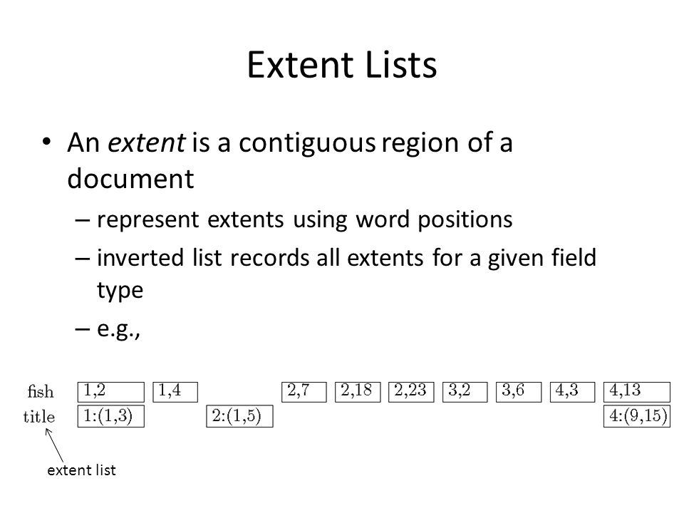 Extent Lists An extent is a contiguous region of a document
