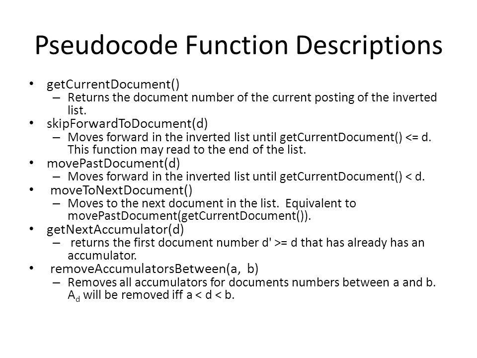 Pseudocode Function Descriptions