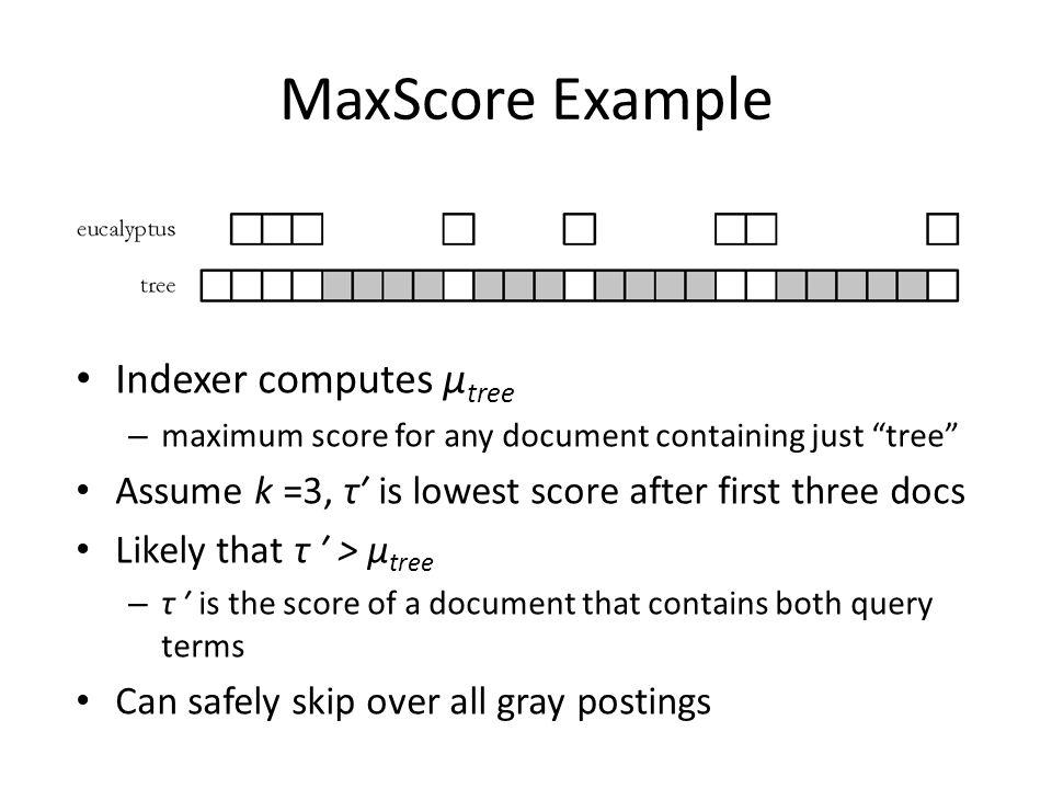 MaxScore Example Indexer computes μtree
