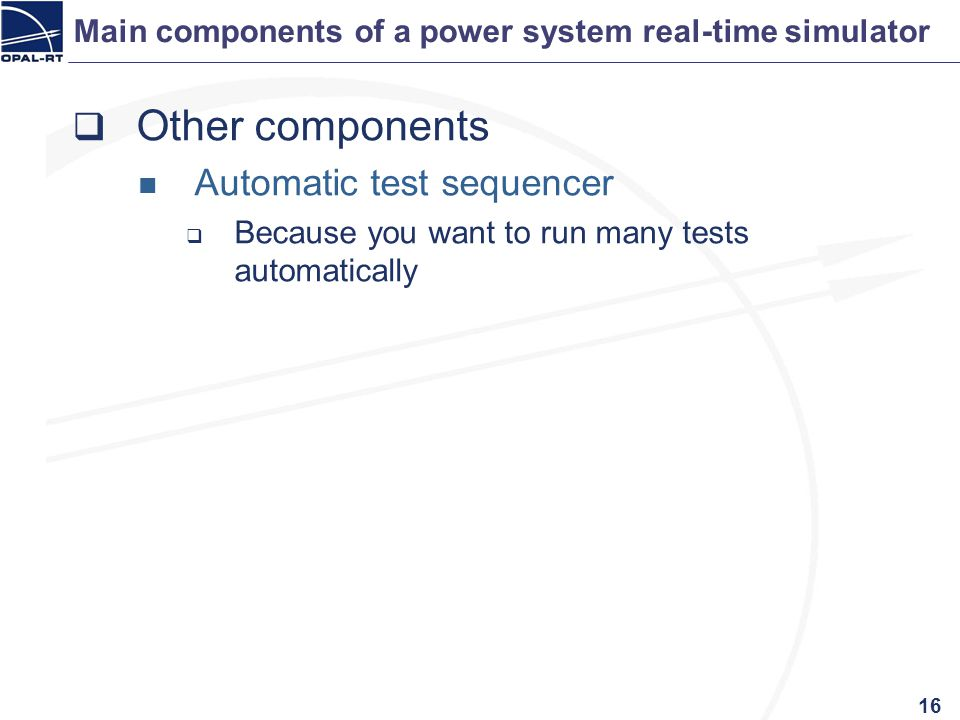Main components of a power system real-time simulator