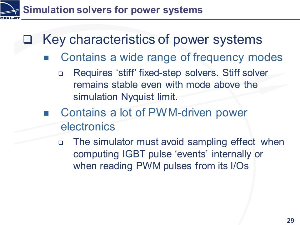 Simulation solvers for power systems