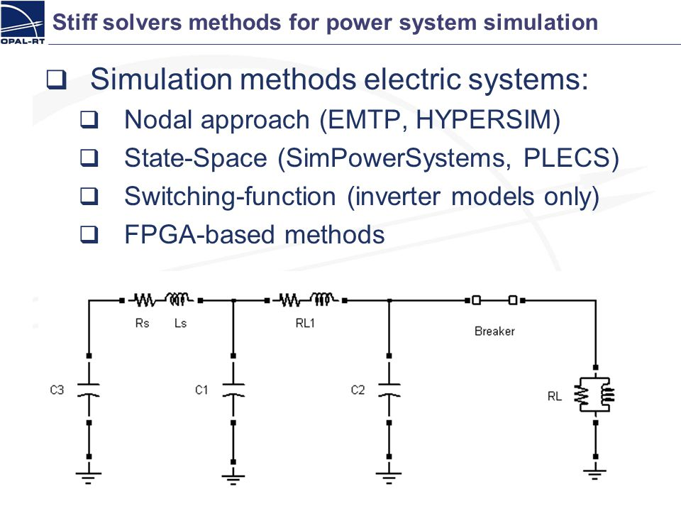 Stiff solvers methods for power system simulation
