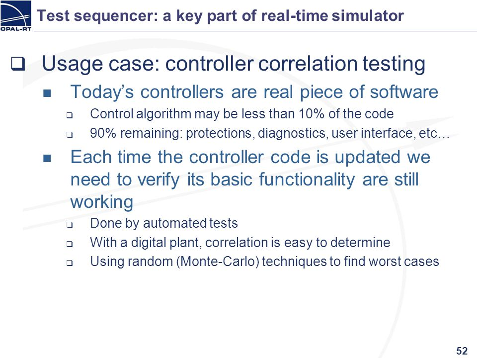 Test sequencer: a key part of real-time simulator