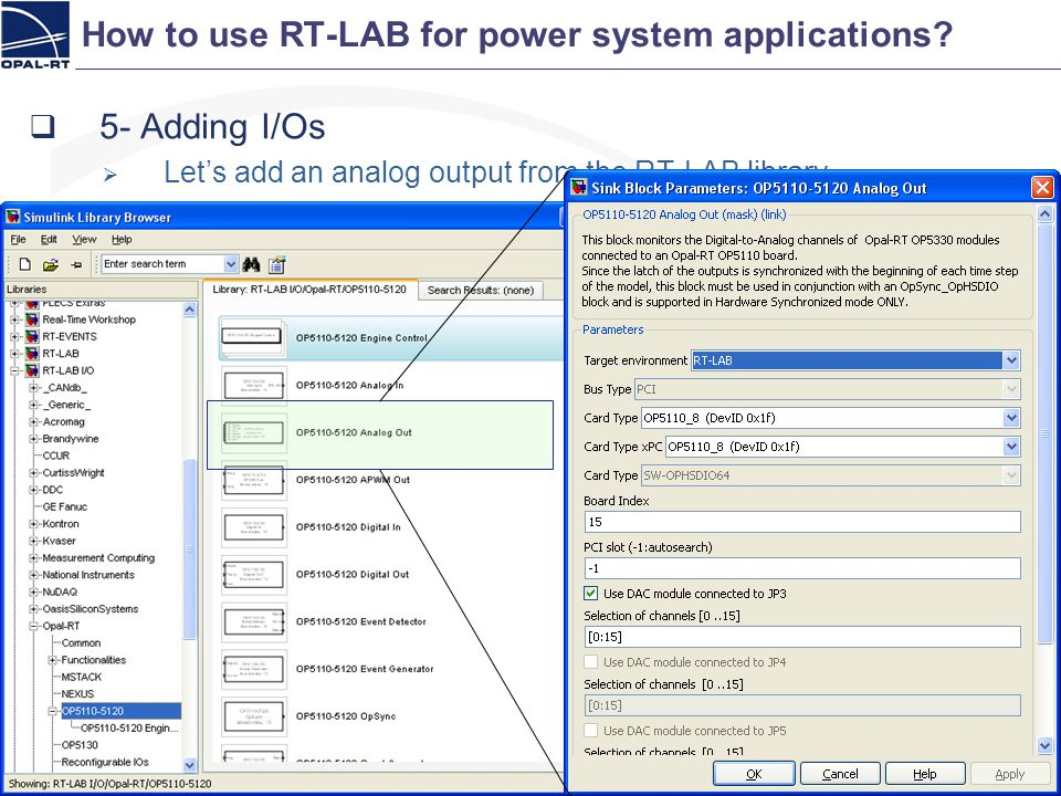 How to use RT-LAB for power system applications