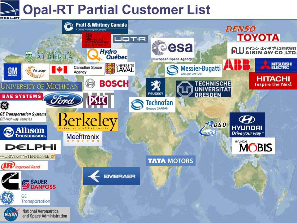 Opal-RT Partial Customer List