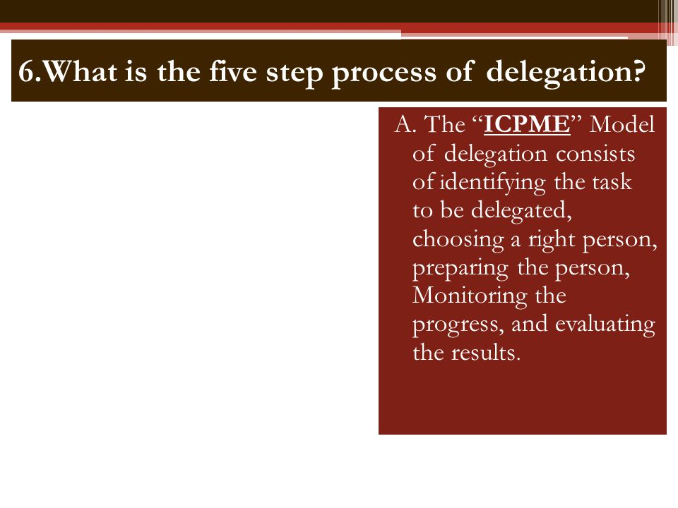 6.What is the five step process of delegation