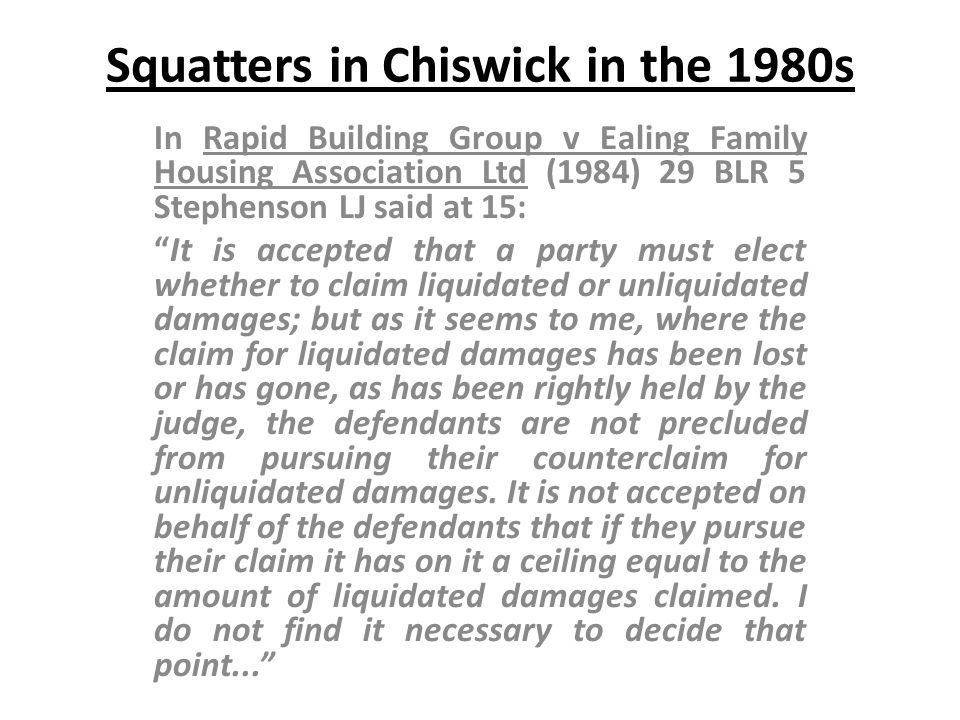 Squatters in Chiswick in the 1980s